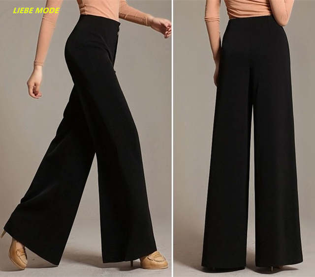 a2bcdd33dd3 Ladies Loose Bottoms Flare Pants For Women Office Work Wide Leg Palazzo  Pants Flared Trousers Red