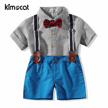 Kimocat Baby Boy Clothes For Summer Short Sleeve Handsome Gentleman Infant Newborn Outfit Sets
