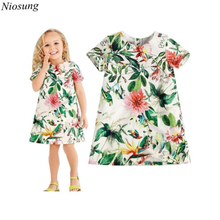 Niosung High Quality 2016 Summer Broken Flower Brand Baby Girls Print Short Sleeve Dress Kids Child Girls Princess Dress v