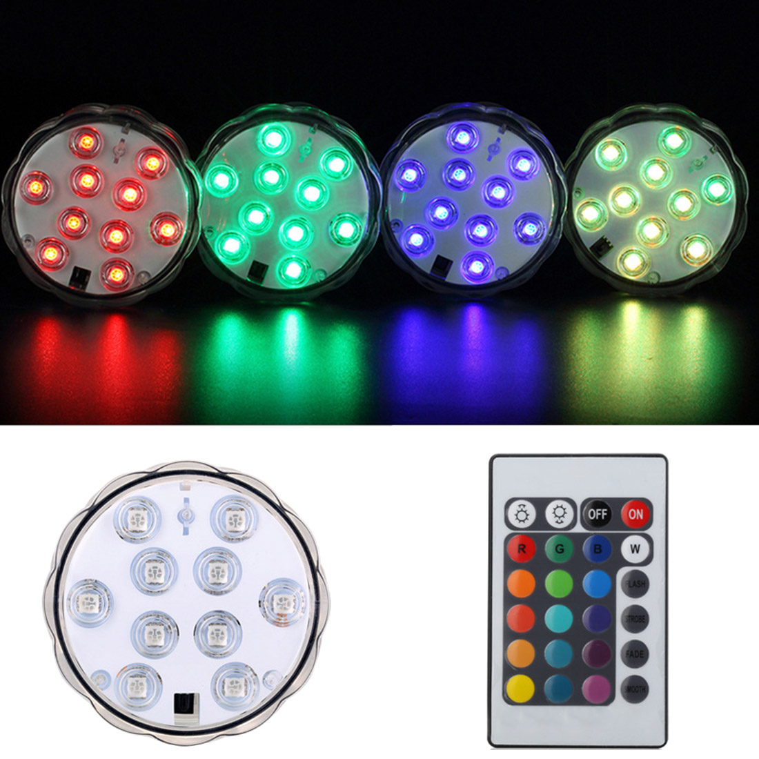 Waterproof 10 LED Underwater Light Remote Controlled RGB Candle Light Battery Operated Night Lamp Party Pool Decoration