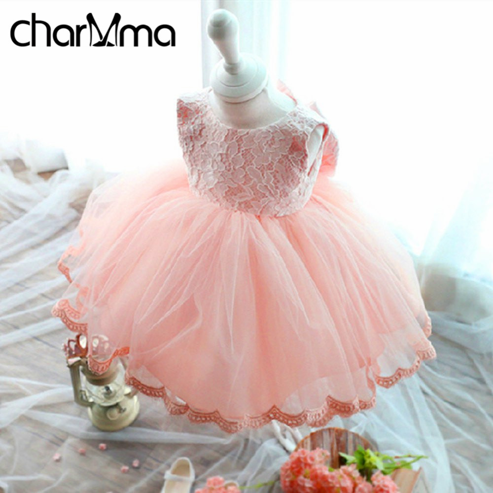 2017 Summer Elegant Girl Dress Pink Lace Big Bow Party Tulle Flower Girls Princess Wedding Dresses Baby Girl Dress Kids Clothes pro table tennis pingpong combo racket dhs power g7 blade with 2x palio ak 47 red matt rubbers shakehand long handle fl