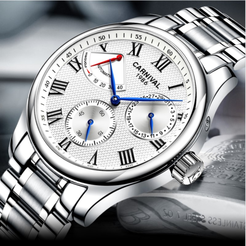 Multi function Mechanical watches self wind CARNIVAL Luxury brand Automatic Watch Men Energy display Calendar Luminous Watch MenMulti function Mechanical watches self wind CARNIVAL Luxury brand Automatic Watch Men Energy display Calendar Luminous Watch Men
