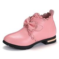 Теплая Бархатная обувь с бантом для маленьких девочек, кожаная обувь для девочек 3-16 лет, розовый, красный, черный, Осень-зима 2019