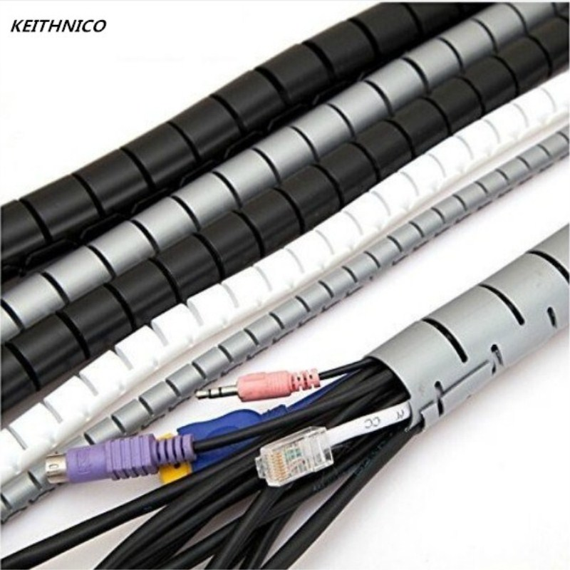 KEITHNICO 1M 3FT Cable Wire Wrap Organizer Spiral Tube Cable Winder Cord Protector Flexible Management Wire Storage Pipe 16mm l1 5m d16 22 28mm spiral wire organizer wrap tube flexible management wire storage for pc computer cord protector cable winder