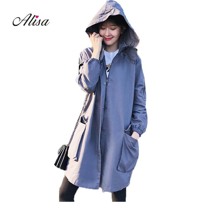 Trench-Coats Windbreaker Hooded Long-Sleeve Loose Female Autumn Casual Winter Women's