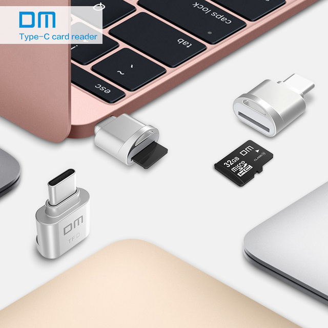 DM มินิประเภท C usb2.0 ไมโคร SD TF เครื่องอ่านการ์ดหน่วยความจำสำหรับ Mac หัวเว่ย Xiaomi LG แท็บเล็ต Sony