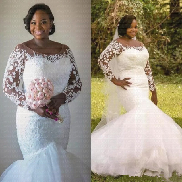 2019 New African Plus Size Mermaid Wedding Dresses Lace Illusion Long  Sleeves Bridal Gowns a3188997c338