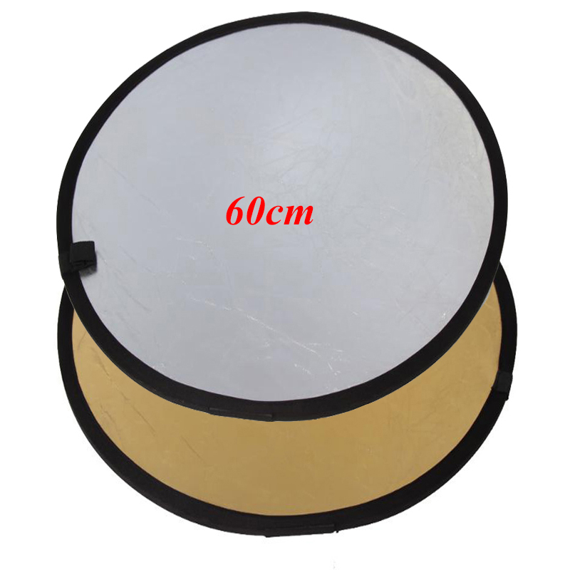 60CM/23″ 2 in 1 Portable Collapsible Photography Studio Reflector gold and silver soft board camera photography reflectors