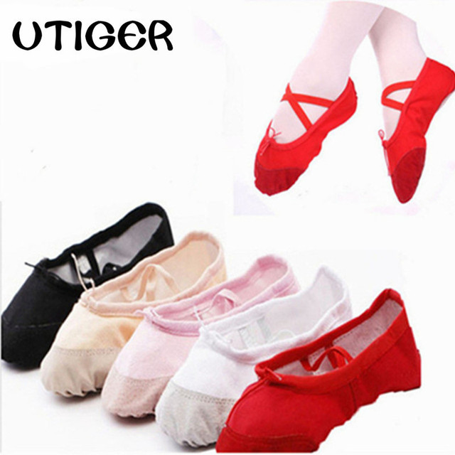 UTIGER Ballet Dance Dancing Shoes Pointe For Children Kids Girls Women Soft Flats Shoes Comfortable Fitness Breathable Slippers