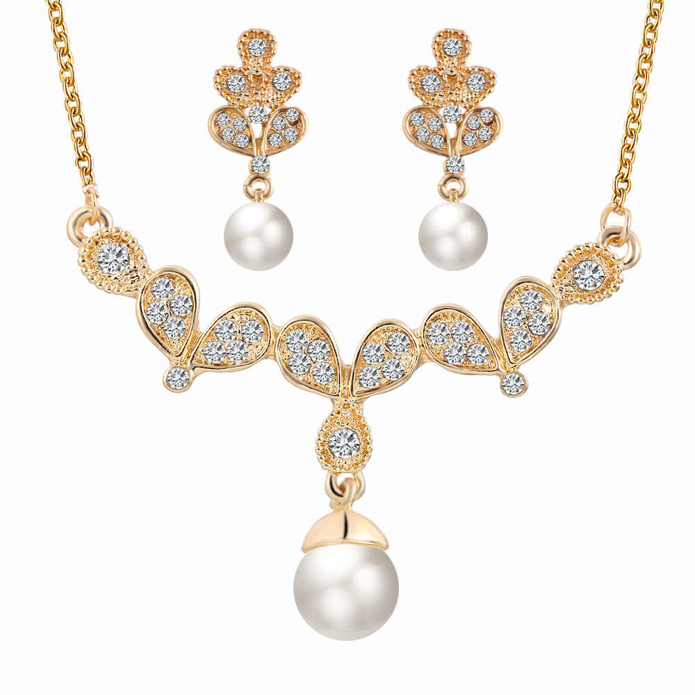 Crystal Wing Jewelry Sets Gold Color Wedding Bridal Women Zircon Butterfly Simulated Pearl Necklace Earrings Set Stud Earring