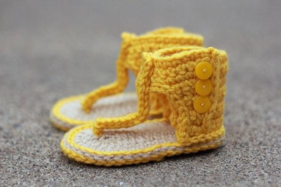 e9a2af677 Sandalias de ganchillo para niña, botas de verano para bebé ROM, sandalias  amarillas, botines de ganchillo, zapatos para niña, bebé regalo 9 cm 11 cm  en ...