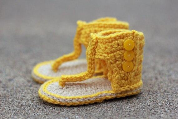 c4deea36 Sandalias de ganchillo para niña, botas de verano para bebé ROM, sandalias  amarillas, botines de ganchillo, zapatos para niña, bebé regalo 9 cm 11 cm  en ...