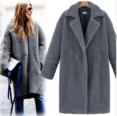 EU style 2018 hot  long v-neck wide-waisted high street style lady coat  new autumn woman wool blends