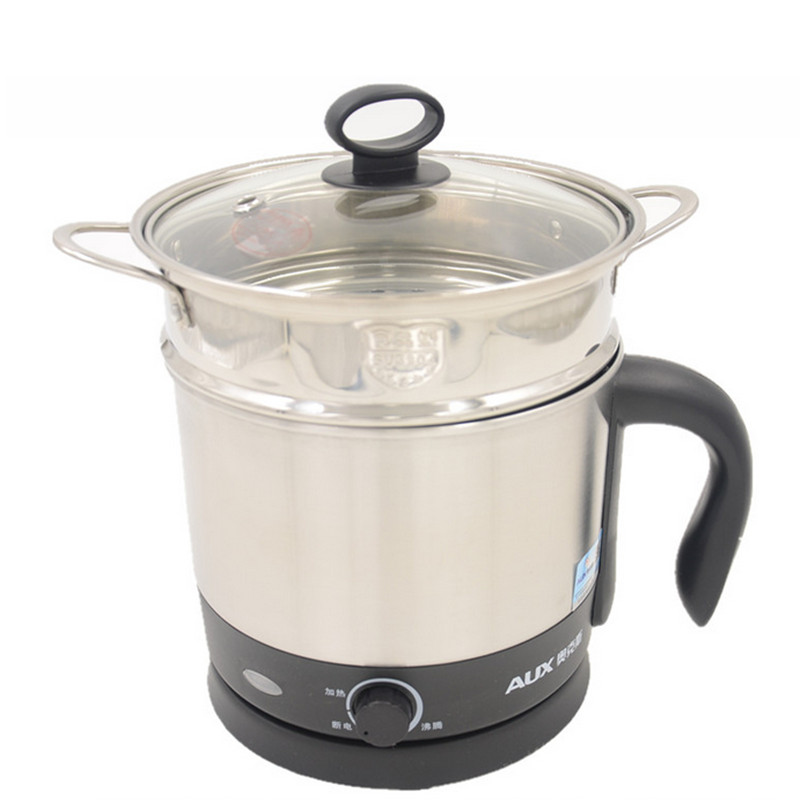 220V AUX Electric Multi Cooker 304 Stainless Steel Mini Electric Cooking Pot 1.2L Hot Pot Heating Lunch For Student hx-12b08 bear ddz b12d1 electric cooker waterproof ceramics electric stew pot stainless steel porridge pot soup stainless steel cook stew
