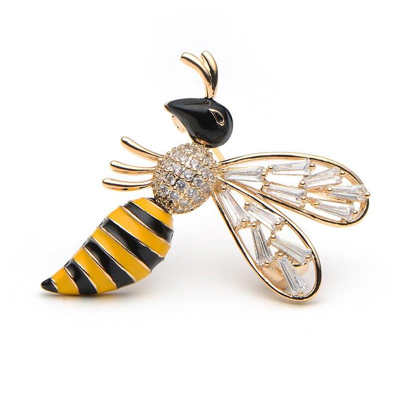 Wuli & baby Crystal Yellow Bee Broscher För Kvinnor Och Män Mode - Märkessmycken - Foto 2