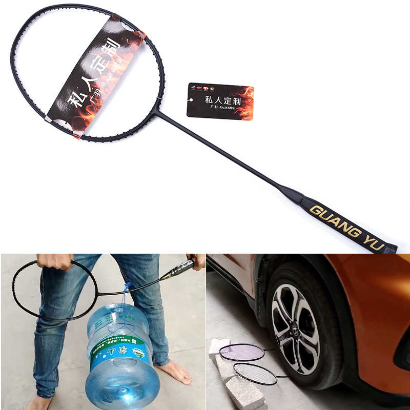 LOKI Super light 7U 67g Strung Badminton Racket Black Professional Carbon Badminton Racquet 28LBS free Grips and Wristband