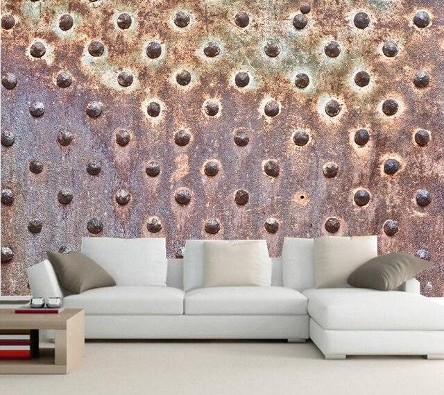 Custom Rusty metal texture photo 3d wallpaper,bar ktv living room tv sofa wall bedroom wallpaper 3d mural papel de parede