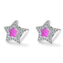 цена New Charm Pink Crystal Jewelry 925 Silver Earrings For Women Micro-Inlay Zircon Star Stud Earring Lady Anniversary Accessories онлайн в 2017 году