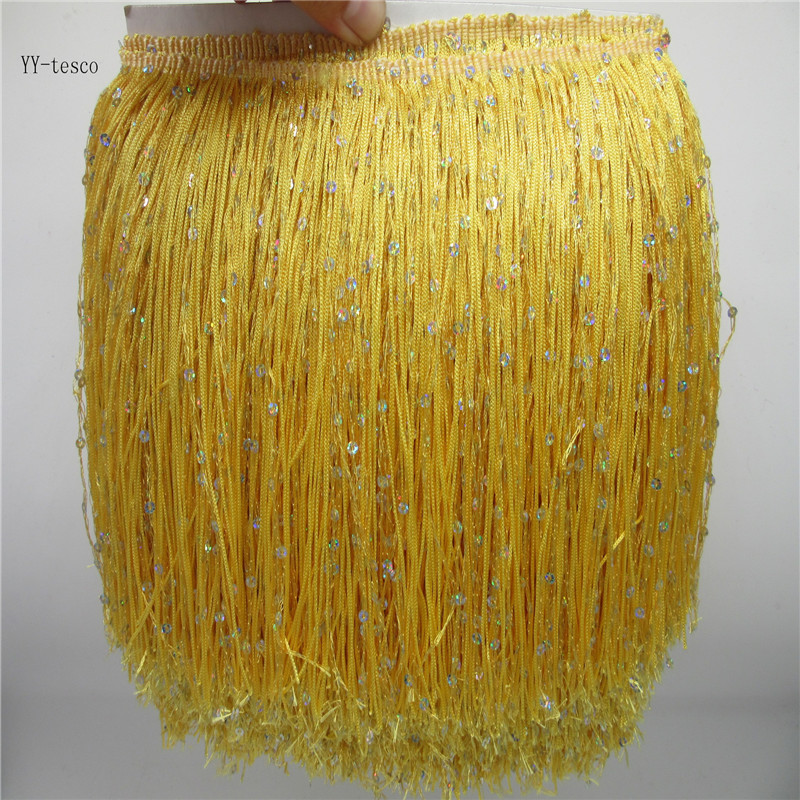 2 Yards Fringe Tassel Trim 20CM Wide Fringe Trim Yellow