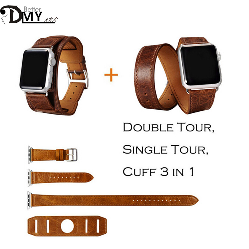 2016 Newest Single Double Tour Cuff Bracelet Leather Watchband 3 in 1 Genuine Leather Strap For