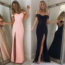 Хит, женские платья с открытыми плечами, повседневное Длинное Макси Вечернее пляжное длинное платье, однотонный розовый черный летний костюм с v-образным вырезом