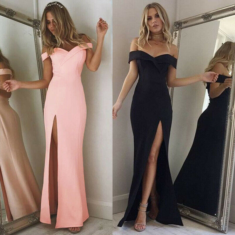 Hot Women's Off Shoulder Dresses Casual Long Maxi Evening Party Beach Long Dress Solid Pink Black V-neck Summer Costume