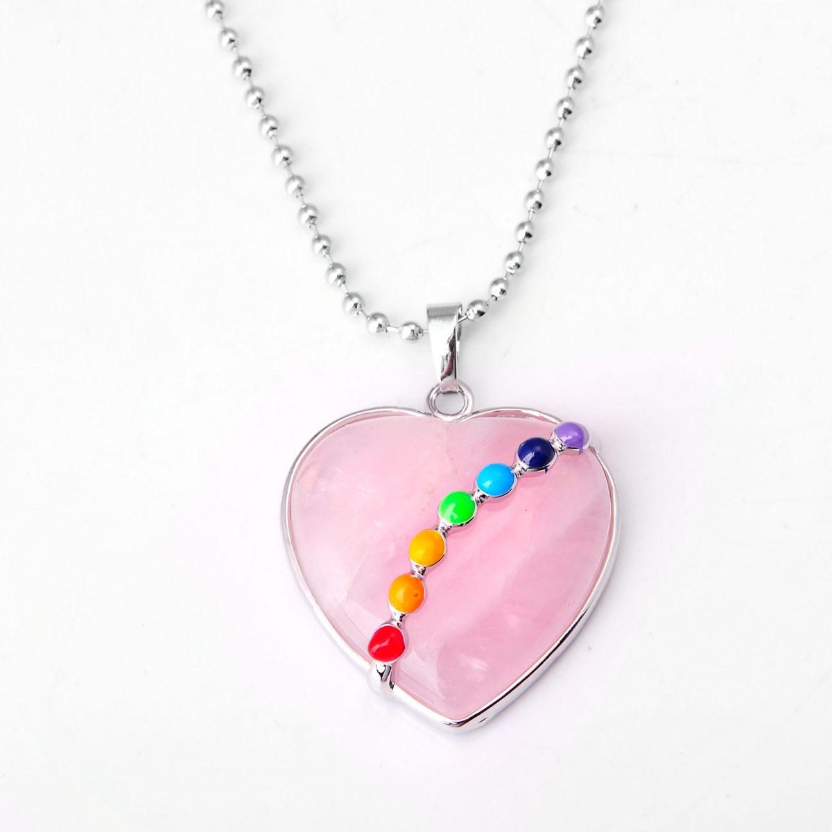 ASHMITA малахитовое сердце из кабошона с 7 чакра камень кулон ожерелье - Окраска металла: 14