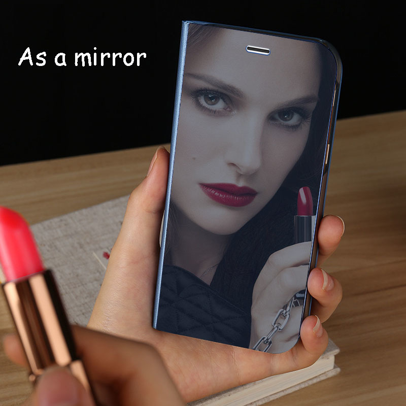 Plating Mirror Smart Sleep Mobile Phone Cases for MI 9 Stereo Bracket Fashion Flip Leather Cover Redmi Note 7 Case