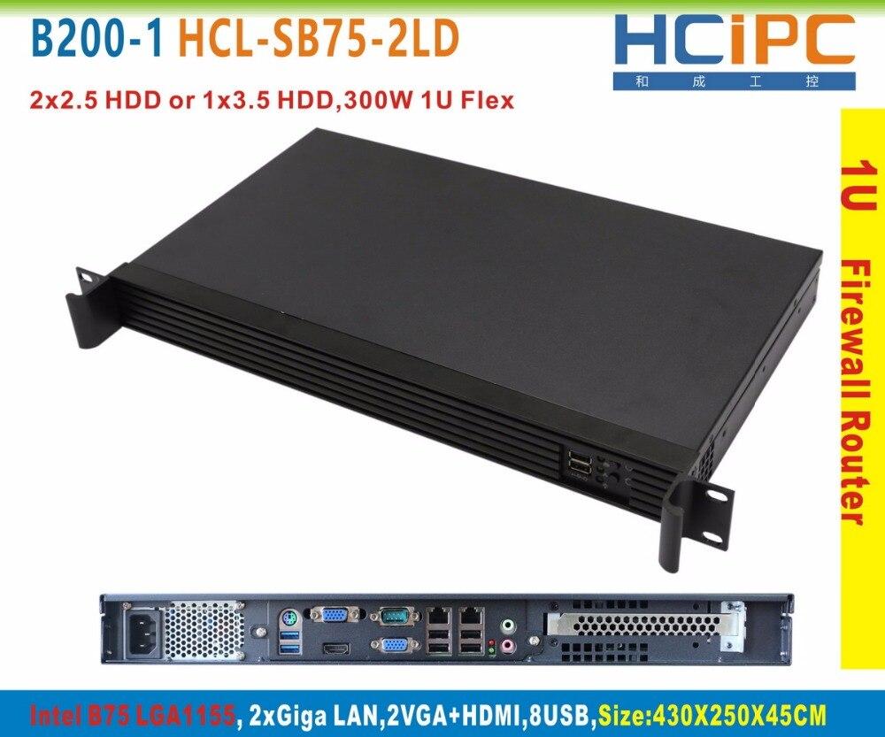 HCiPC B200-1 HCL-SB75-2LD-BareBone, 1U Firewall System,1U Router, 2LAN Firewall Sever, 2LAN Router, Firewall Motherboard(China)