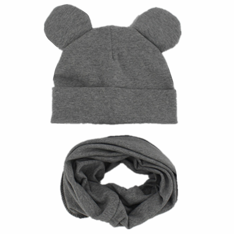 New Spring Autumn Cotton Baby Hat With Soft Ears Boy Girl Cap Scarf Set Winter Children Lovely Beanie Cap Kids Knitted Hats Sets