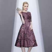 Three dimensional Cut Party Dress Elegant High Waist Half Sleeve Long Dresses Light Luxury Retro Slim Dress Vestidos Mujer