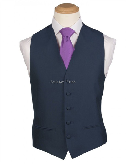 Navy Blue Waistcoat Men for Wedding Men Suits New Fashion 5 Buttons Slim Fit  Wedding Suit Vest
