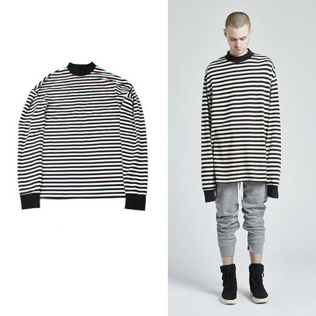 9450cce1d High street mens oversized striped long sleeve t shirt tops hip hop tee  shirts men casual extended punk hiphop tshirt homme
