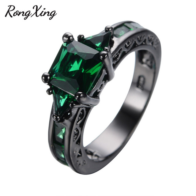 RongXing Vintage Square May Birthstone Rings For Women Birthday