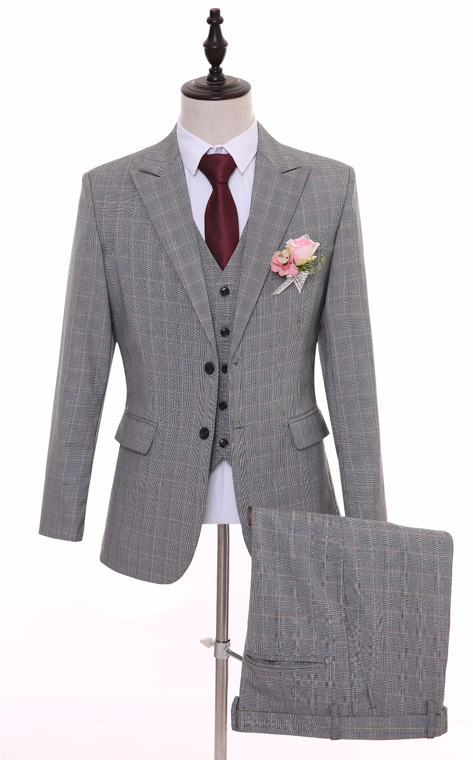 British Style Grey Plaid Men Suits Slim Fit Bespoke Groomsmen Best Man Groom Tuxedos Mens Wedding Suit(Jacket+Pants+Ves