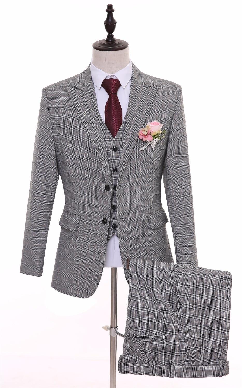 British Style Grey Plaid Men Suits Slim Fit Bespoke Groomsmen Best Man Groom Tuxedos Mens Wedding Suit(Jacket+Pants+Ves