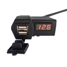 Motorcycle 12/24V Dual USB charger with LED Digital Display Voltmeter/Mobile phone for motorcycle