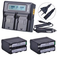 2Pcs 7200mAh NP F970 NP F970 Power Display Battery 1 Ultra Fast 3X Faster Dual Charger