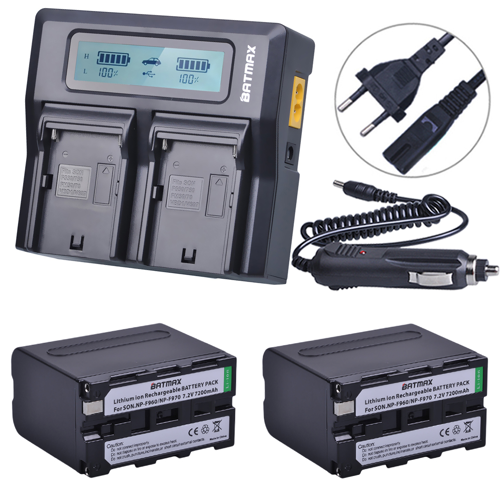 2Pcs 7200mAh NP-F970 NP F970 Power Display Battery + 1 Ultra Fast 3X faster Dual Charger for SONY F930 F950 F770 F570 CCD-RV100 np f960 f970 6600mah battery for np f930 f950 f330 f550 f570 f750 f770 sony camera