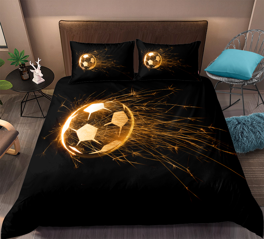 3D Flame Football Sports Kids Bedding Duvet Cover Sets Pillowcases Quilt Cover