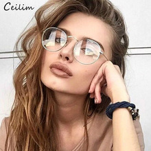 Spectacle Frames Round-Glasses Clear Lens Transparent Vintage Women New Metal Oculos