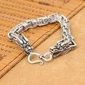 Ручной серебро 925 ом мантра дракон Bracelet старинные чистого серебра дракон Bracelet стерлингового серебра человек браслет