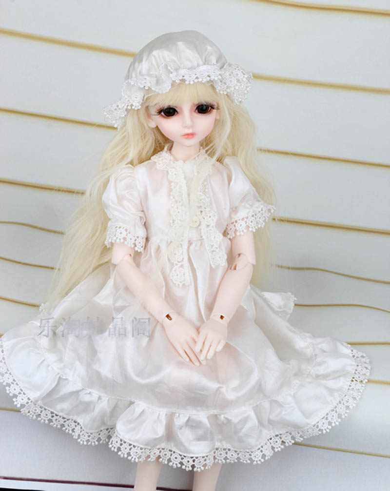 1/3 1/4 1/6 BJD SD Doll Clothes White Dress Volks Dod Sooms Ai Doll Lovely Doll Dress For Girls Gift Doll Accessories цена