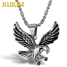 Xukim Jewelry Titanium 316L Stainless Steel Animal Eagle Pendant Necklace Hip Hop Punk Jewelry Mens Male Jewelry Party Gift vintage 316l stainless steel skull skeleton necklace pendant for motorcycle party punk gem necklace hip hop men jewelry