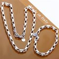 Free Shipping Wholesale Fashion Jewelry Set,Box chain 2 Piece set,925 Sterling silver Necklace&Bracelet&Earrings T022