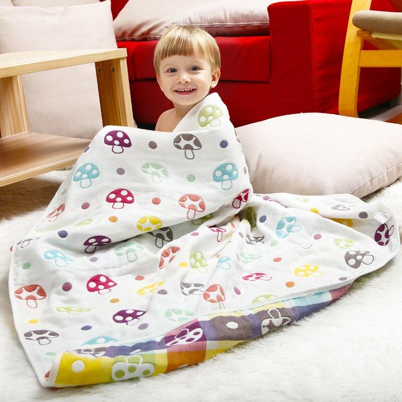 Muslin Baby Blankets Children 6 Layers Gauze Cotton Soft Anti Kick Quilt Newborn Infant Swaddle Towel Kids Bath Towel 100*100cm
