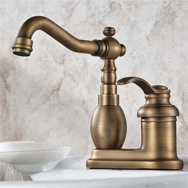"Antique Brass 4"" Centerset Kitchen Bathroom Vessel Sink Two Holes Basin Swivel Faucet Single Lever Handles Water Tap anf429-in Basin Faucets from Home Improvement    1"
