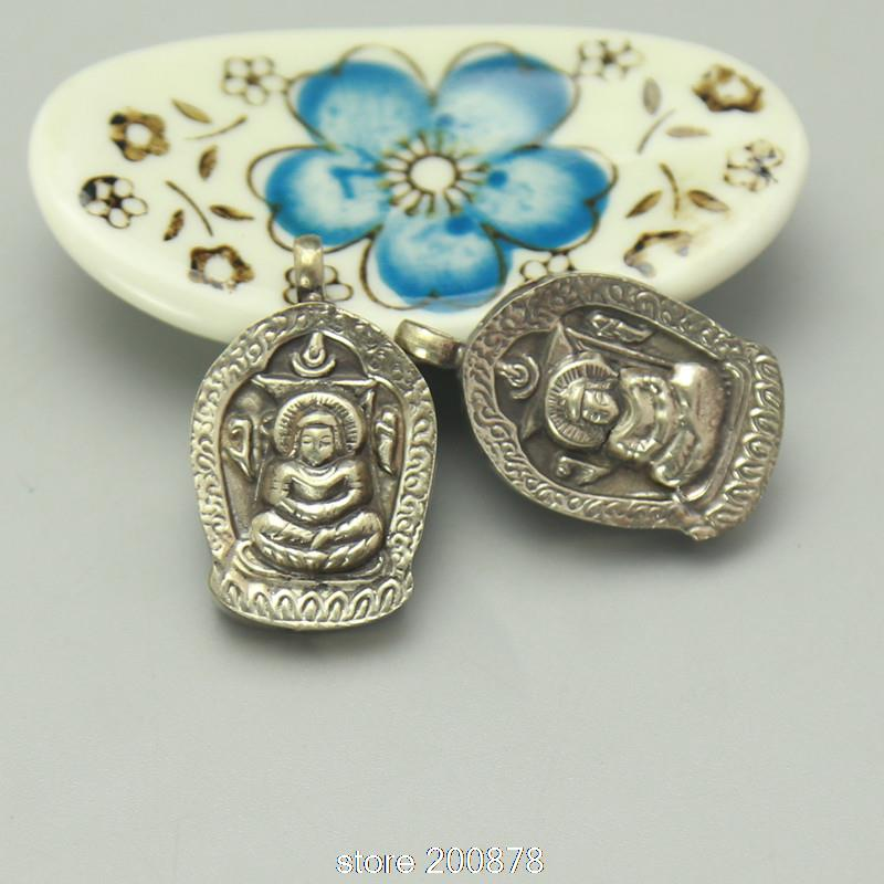 TGB235 Tibetan White Metal Copper Silver Prayer box 30mm Tibet Small GAU BUDDHA Amulet Pendants Wholesale Tibet Jewel