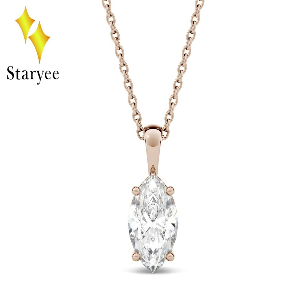 1CT Charles&Colvard Moissanite Necklace Pure 18K Rose Gold DEF VVS Marquise Cut Moissanite Solitaire Pendant Necklace Women