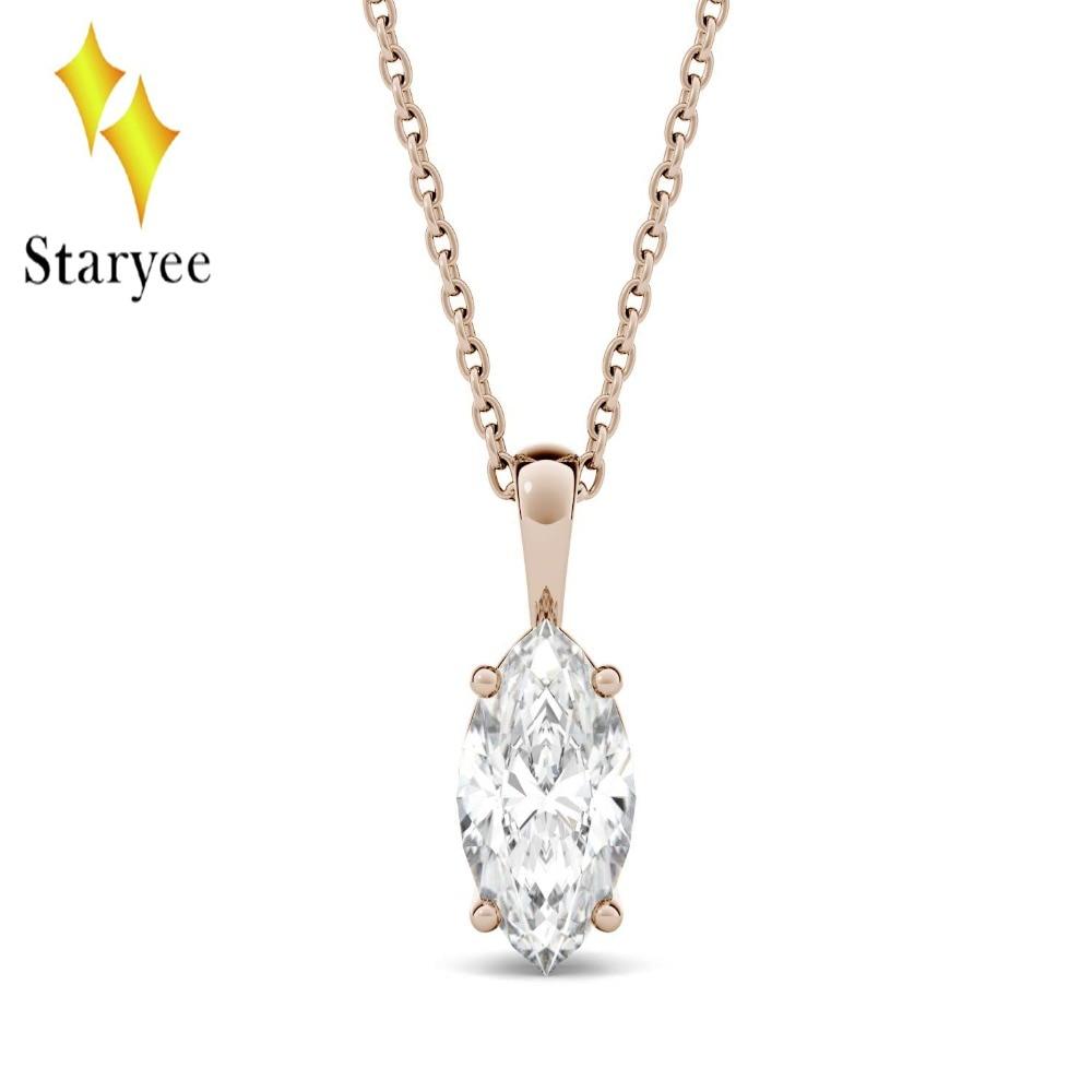1CT Charles & Colvard Moissanite collar puro oro rosa 18 K DEF VVS Marquesa corte Moissanite anillo colgante collar de las mujeres